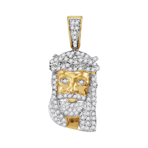 10kt Yellow Gold Mens Round Diamond Jesus Face Charm Pendant 1/3 Cttw