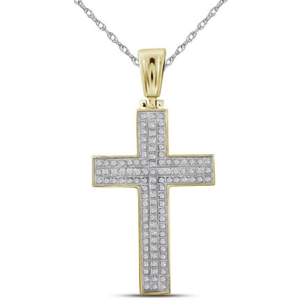 10kt Yellow Gold Mens Round Diamond Cross Charm Pendant 1/3 Cttw