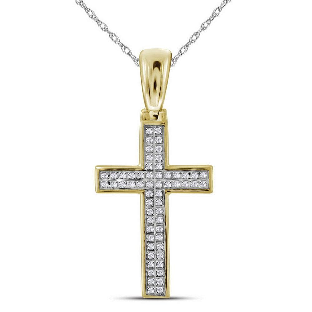 10kt Yellow Gold Mens Round Diamond Small Cross Religious Charm Pendant 1/6 Cttw