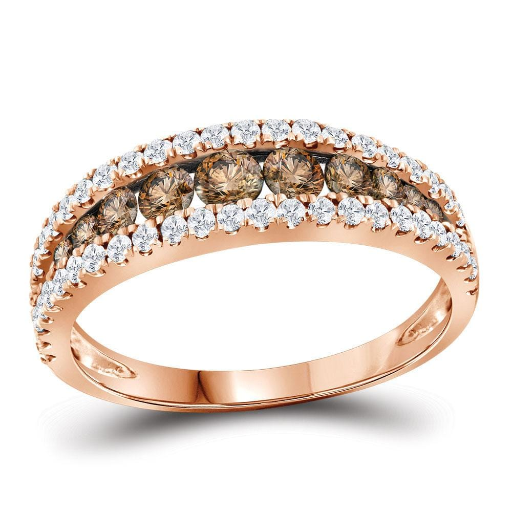 14kt Rose Gold Womens Round Brown Diamond Band Ring 1 Cttw