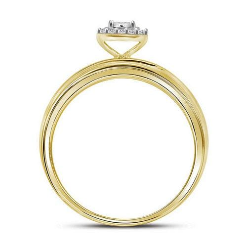 10kt Yellow Gold His & Hers Round Diamond Solitaire Matching Bridal Wedding Ring Band Set 1/2 Cttw