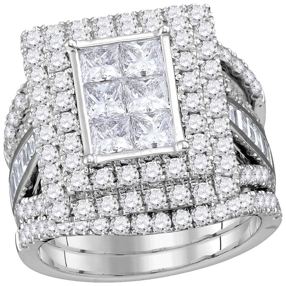 14kt White Gold Womens Princess Diamond Rectangle Cluster Bridal Wedding Engagement Ring Band Set 4-1/12 Cttw