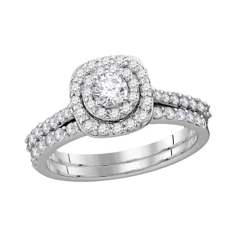 14kt White Gold Womens Round Diamond Double Halo Bridal Wedding Engagement Ring Band Set 1.00 Cttw