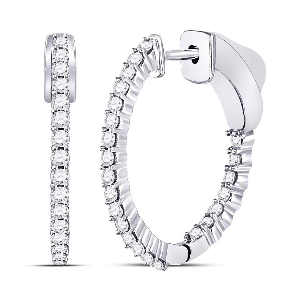 10kt White Gold Womens Round Diamond Single Row Hoop Earrings 1/2 Cttw