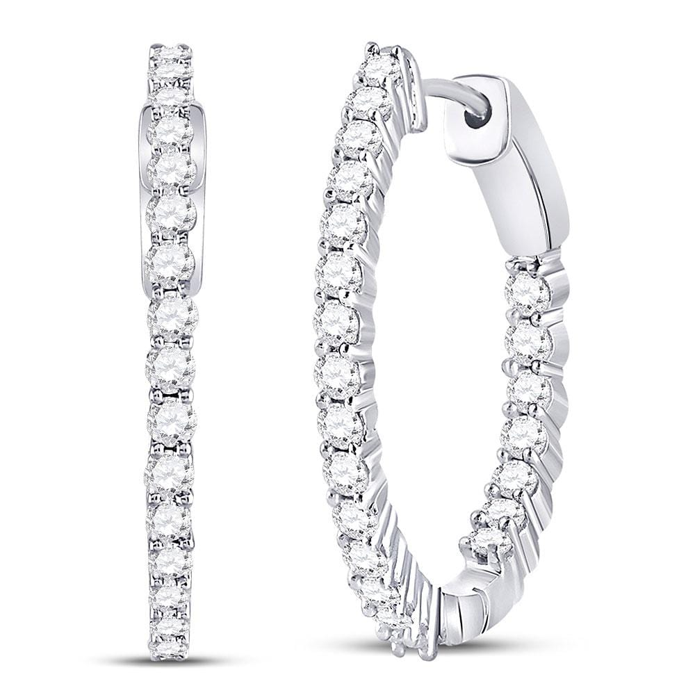 10kt White Gold Womens Round Diamond Inside Outside Hoop Earrings 2 Cttw