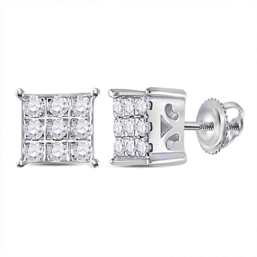 10kt White Gold Womens Round Diamond Cindys Dream Square Cluster Stud Earrings 1/6 Cttw