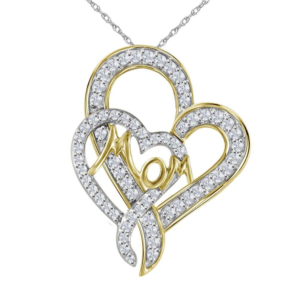 10kt Yellow Gold Womens Round Diamond Double Heart Mom Pendant 1/3 Cttw