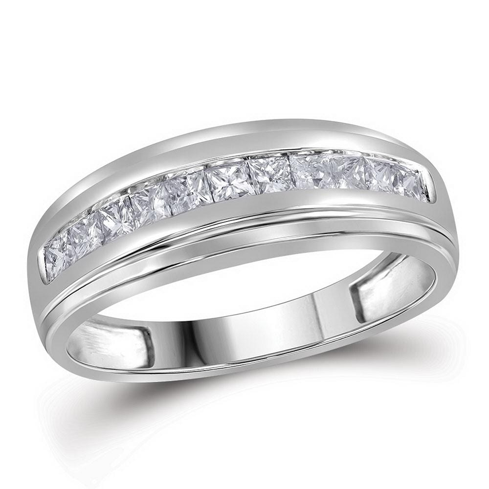 10kt White Gold Mens Princess Diamond Single Row Wedding Band Ring 1/2 Cttw
