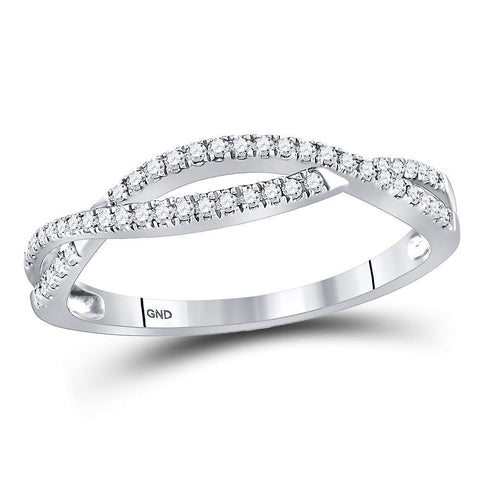 10kt White Gold Womens Round Diamond Crossover Twist Band Ring 1/5 Cttw