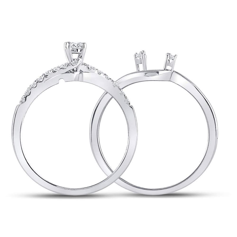 10kt White Gold Womens Round Diamond Bridal Wedding Engagement Ring Band Set 1/3 Cttw