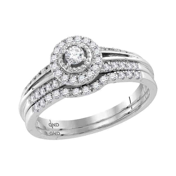 10kt White Gold Womens Round Diamond Halo Bridal Wedding Engagement Ring Band Set 1/3 Cttw