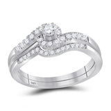 10kt White Gold Womens Round Diamond Swirled Bridal Wedding Engagement Ring Band Set 5/8 Cttw