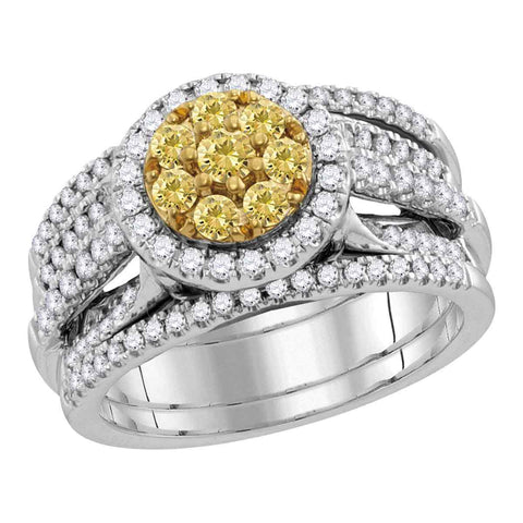 14kt White Gold Womens Round Yellow Diamond Bridal Wedding Engagement Ring Band Set 1.00 Cttw
