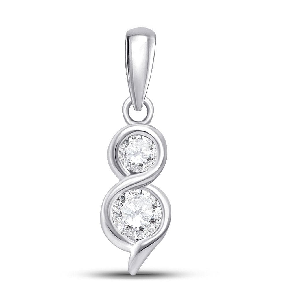 14kt White Gold Womens Round Diamond 2-stone Hearts Together Pendant 5/8 Cttw