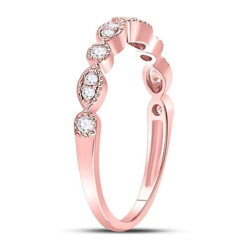 10kt Rose Gold Womens Round Diamond Milgrain Stackable Band Ring 1/6 Cttw