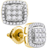 10kt Yellow Gold Womens Round Diamond Square Earrings 1 Cttw