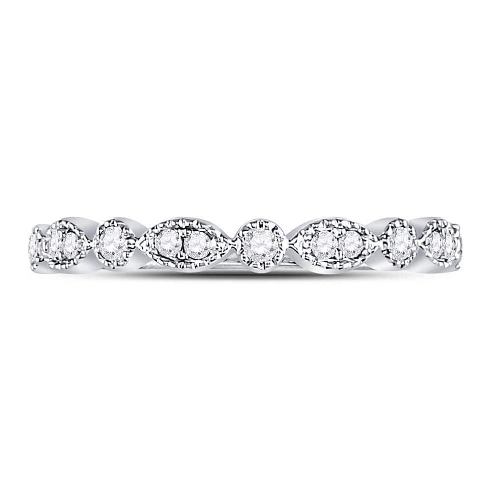 10kt White Gold Womens Round Diamond Milgrain Stackable Band Ring 1/6 Cttw