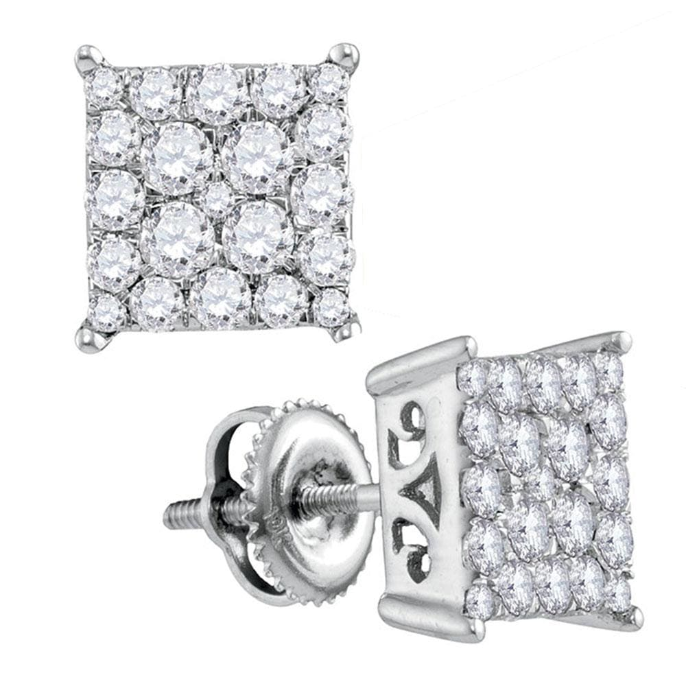 10kt White Gold Womens Round Diamond Square Cluster Stud Earrings 1.00 Cttw