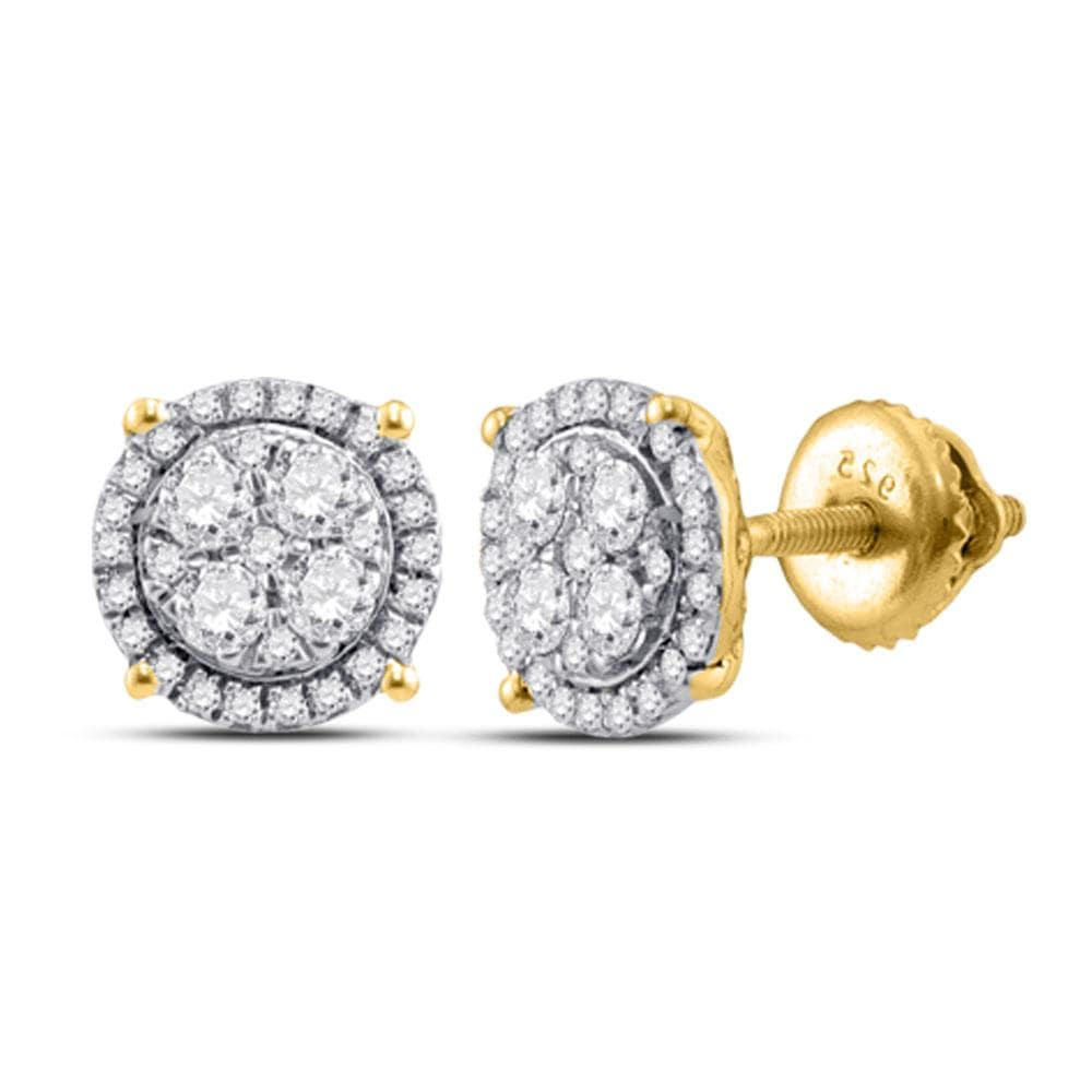 10kt Yellow Gold Womens Round Diamond Cindy's Dream Cluster Earrings 1/4 Cttw