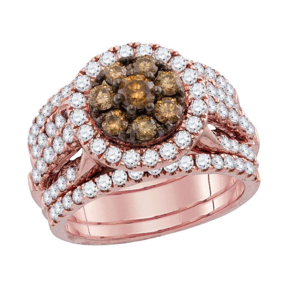 14kt Rose Gold Womens Round Brown Diamond 3-Piece Bridal Wedding Engagement Ring Band Set 1.00 Cttw