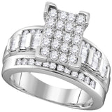 10kt White Gold Womens Round Diamond Rectangle Cluster Bridal Wedding Engagement Ring 7/8 Cttw - Size 7.5