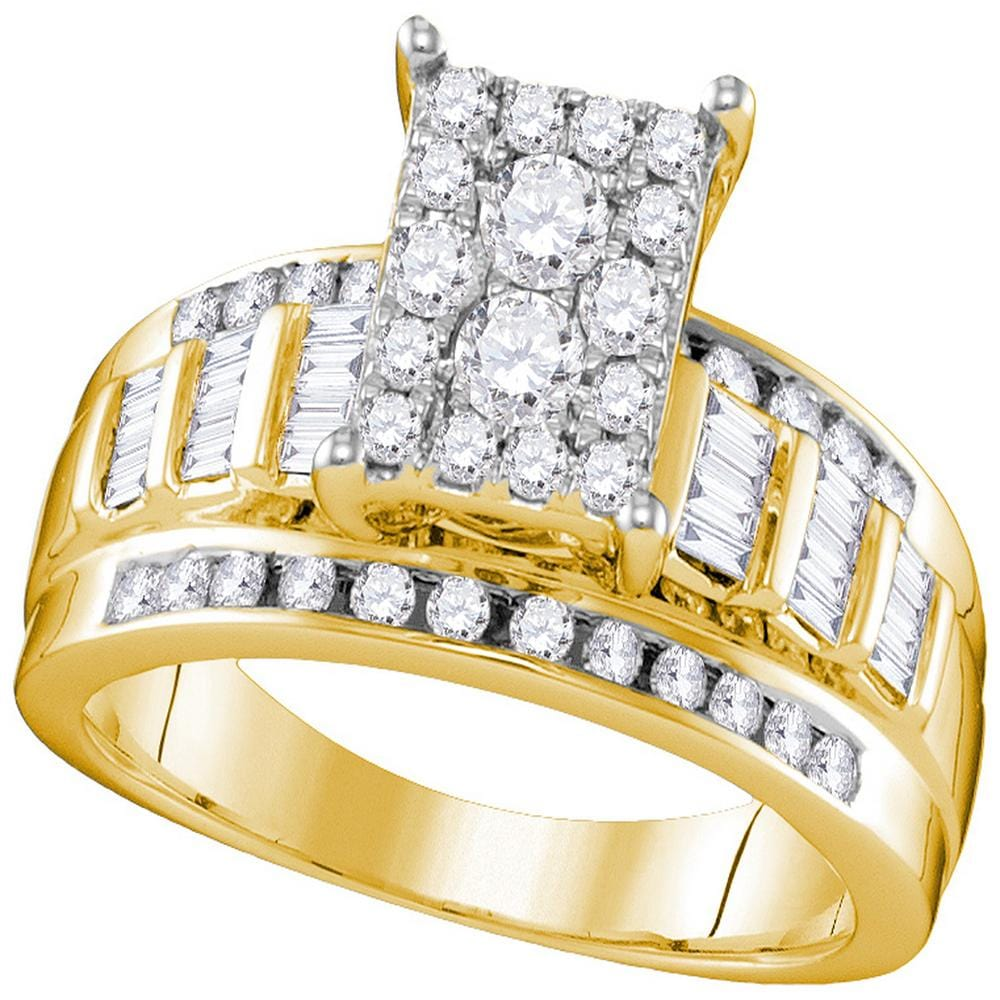 10kt Yellow Gold Womens Round Diamond Cluster Bridal Wedding Engagement Ring 7/8 Cttw - Size 7.5