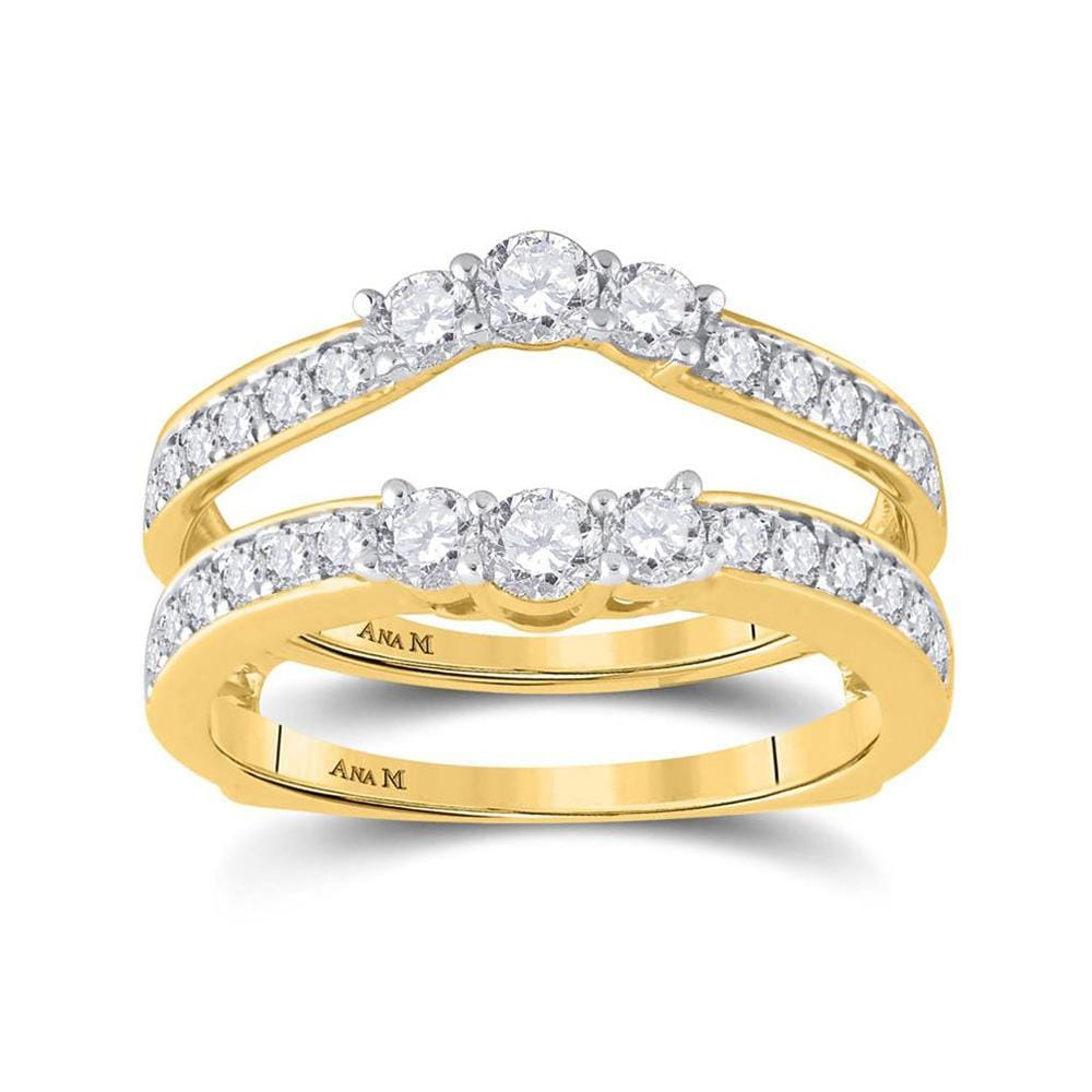 14kt Yellow Gold Womens Round Diamond Wedding Wrap Ring Guard Enhancer 1 Cttw
