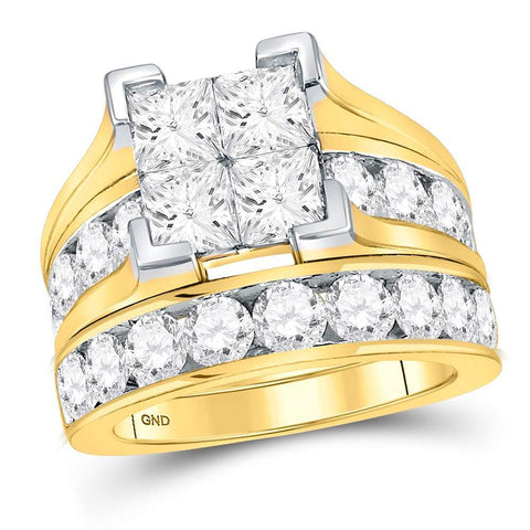 14kt Yellow Gold Womens Princess Diamond Bridal Wedding Engagement Ring Band Set 5.00 Cttw
