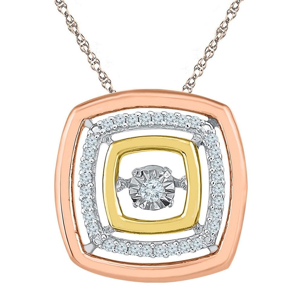 10kt Tri-Tone Gold Womens Round Diamond Square Moving Twinkle Pendant 1/8 Cttw