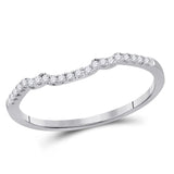14kt White Gold Womens Round Diamond Contoured Slender Wedding Enhancer Band 1/10 Cttw