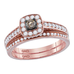 14kt Rose Gold Womens Round Cognac-brown Color Enhanced Diamond Bridal Wedding Engagement Ring Band Set 1/2 Cttw