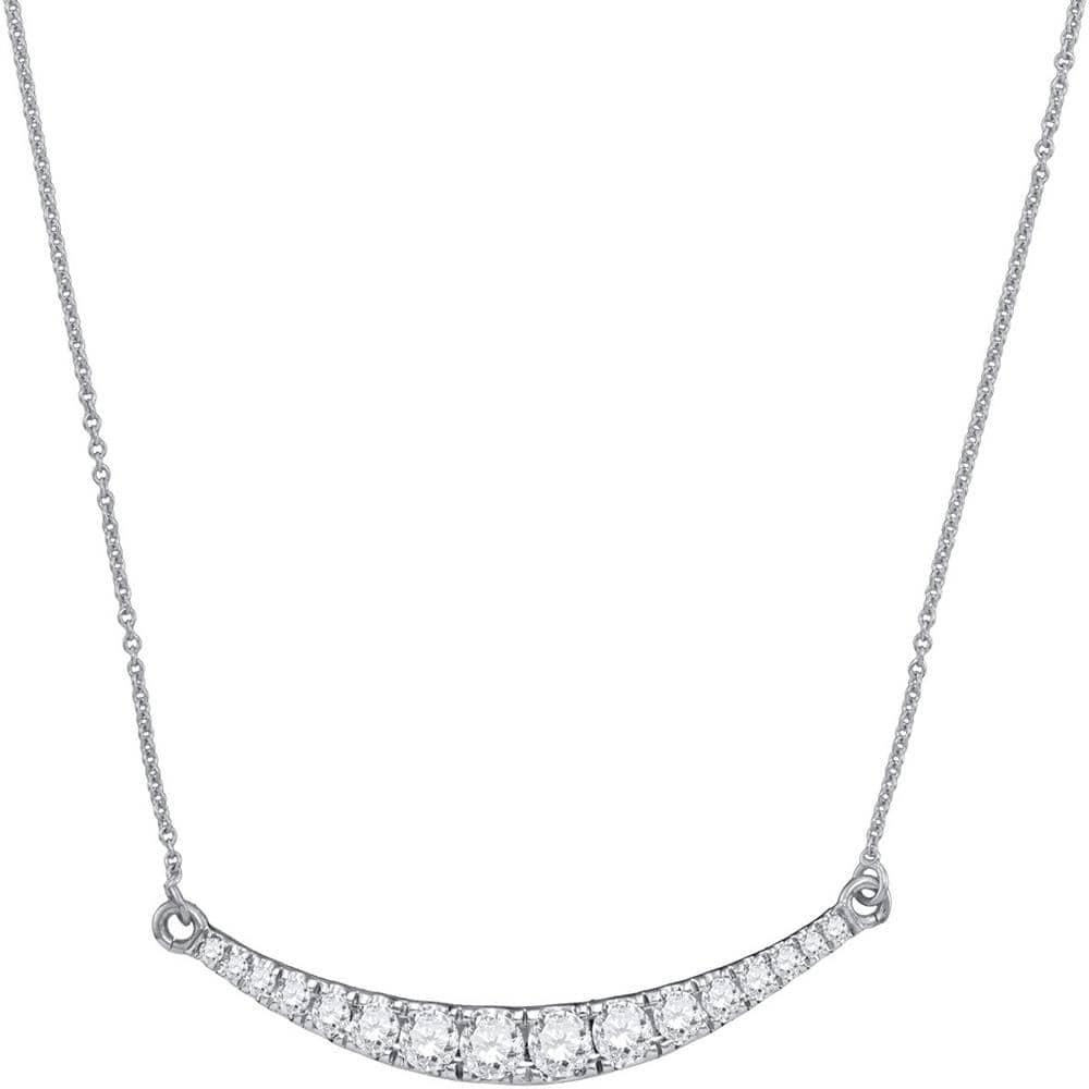 10kt White Gold Womens Round Diamond Curved Bar Pendant Necklace 1.00 Cttw