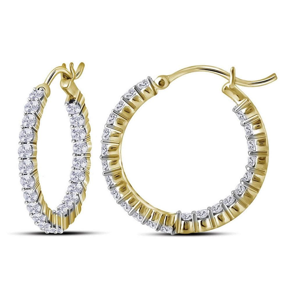 10kt Yellow Gold Womens Round Diamond Inside Outside Hoop Earrings 2.00 Cttw