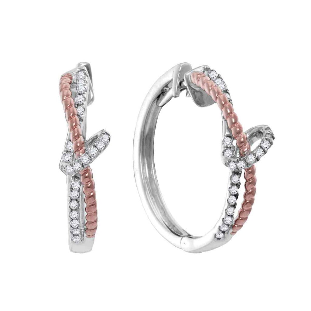 10kt White Gold Womens Round Diamond Rose-tone Rope Hoop Earrings 1/4 Cttw