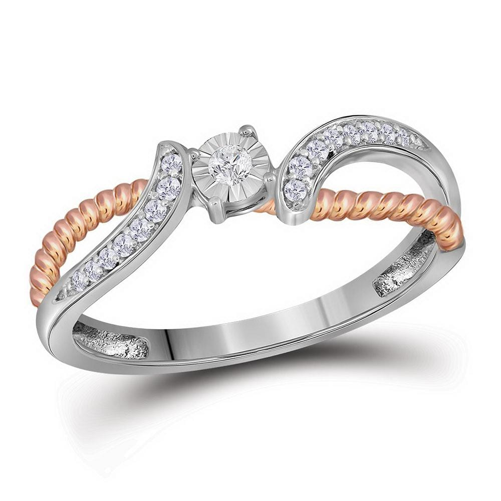 10kt White Gold Womens Round Diamond Rose-tone Rope Bridal Wedding Engagement Ring 1/10 Cttw