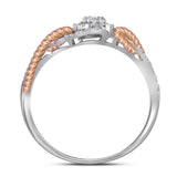10kt White Gold Womens Round Diamond Rose-tone Rope Cluster Ring 1/4 Cttw