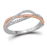 10kt White Gold Womens Round Diamond Rose-tone Rope Crossover Strand Band 1/5 Cttw