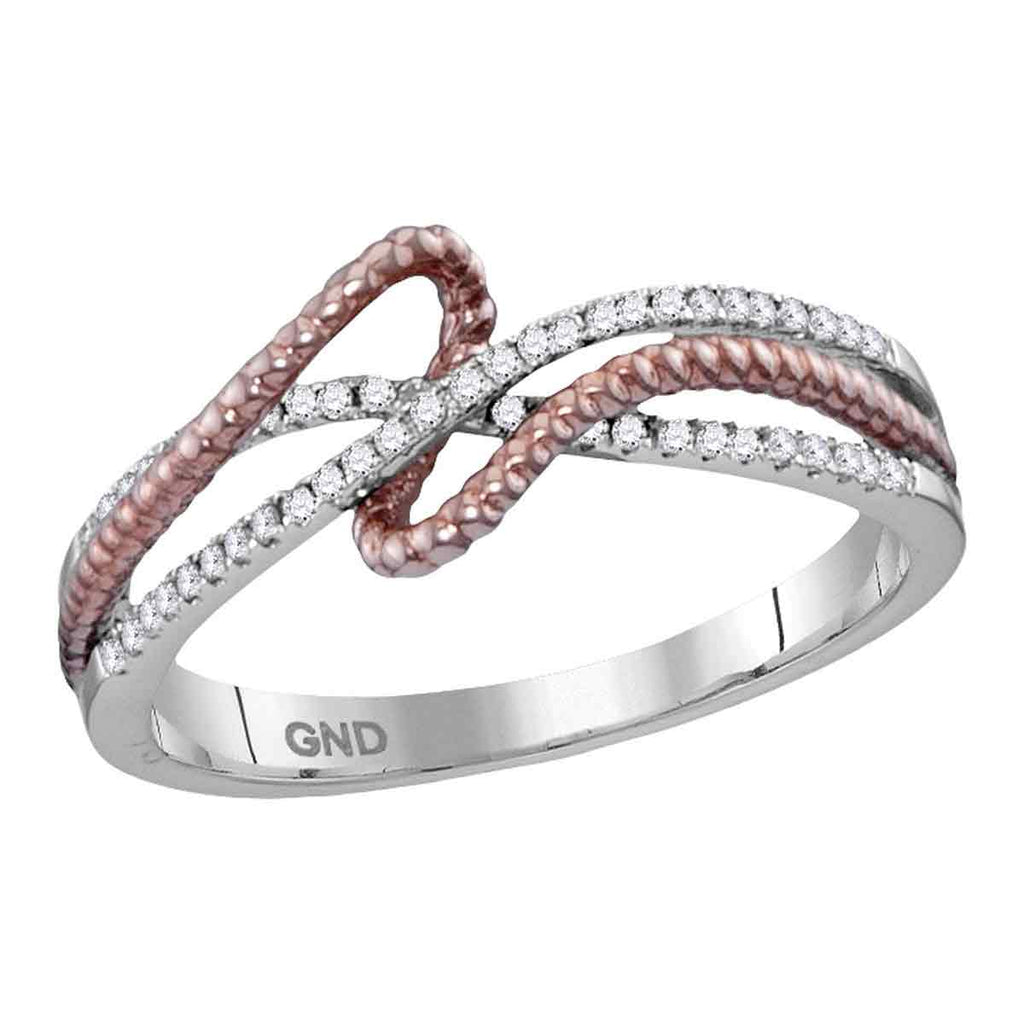 10kt White Gold Womens Round Diamond Rope Fashion Band Ring 1/6 Cttw