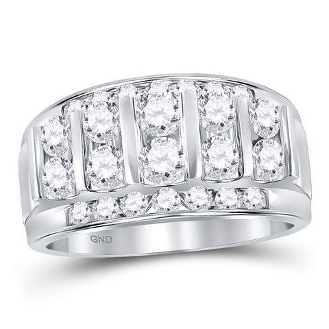 14kt White Gold Mens Round Channel-set Diamond Striped Wedding Band Ring 2-1/12 Cttw