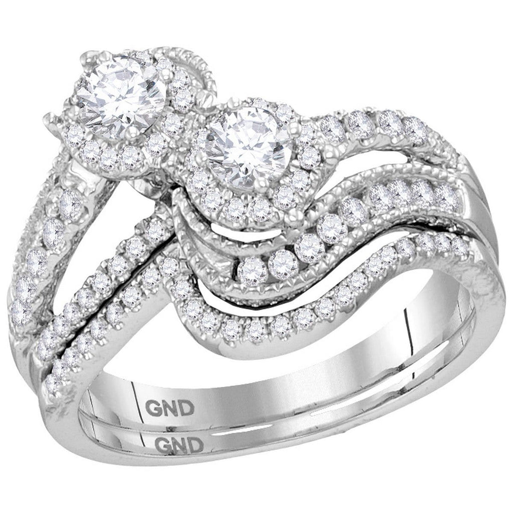 14kt White Gold Womens Round Diamond 2-stone Bridal Wedding Engagement Ring Band Set 1.00 Cttw