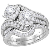 14kt White Gold Womens Round Diamond 2-Stone Halo Bridal Wedding Engagement Ring Band Set 1-1/2 Cttw (Certified)