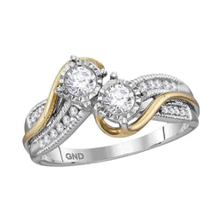 14kt White Two-tone Gold Womens Round Diamond 2-stone Bridal Wedding Engagement Ring 1/2 Cttw (Certified)