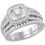 14kt White Gold Womens Round Diamond Square Halo Bridal Wedding Engagement Ring Band Set 1.00 Cttw