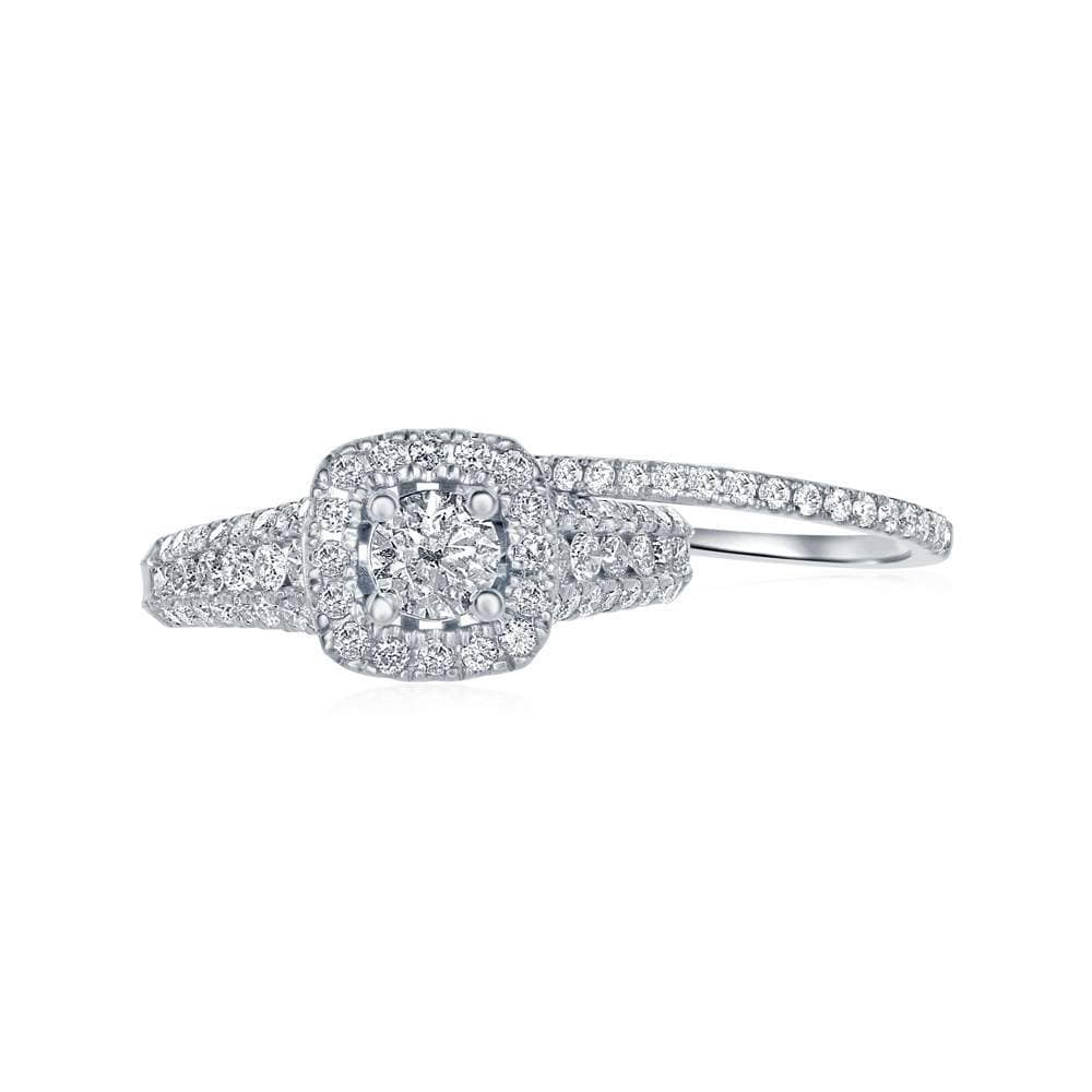 14kt White Gold Womens Round Diamond Bridal Wedding Engagement Ring Band Set 1-1/2 Cttw (Certified)