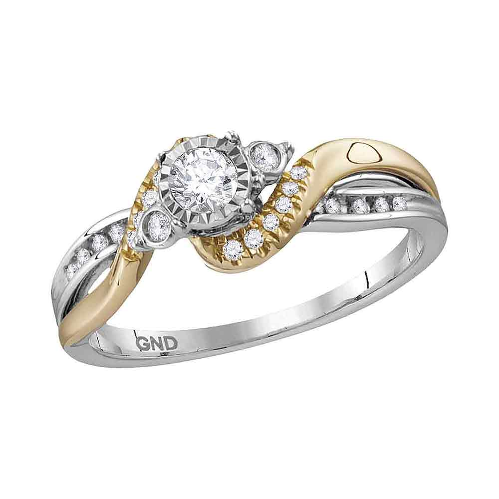 14kt White Two-tone Gold Womens Round Diamond Solitaire Bridal Wedding Engagement Ring 1/4 Cttw