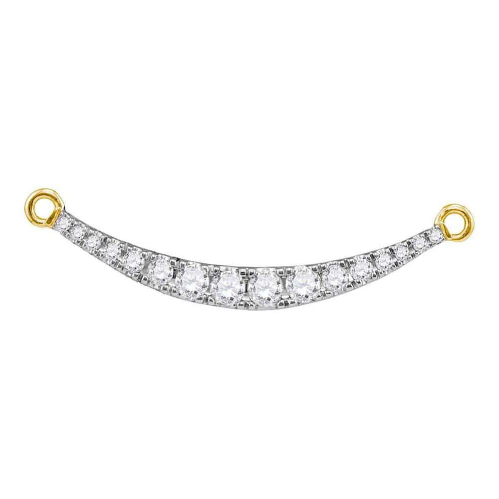 10kt Yellow Gold Womens Round Diamond Curved Bar Pendant Necklace 1/2 Cttw