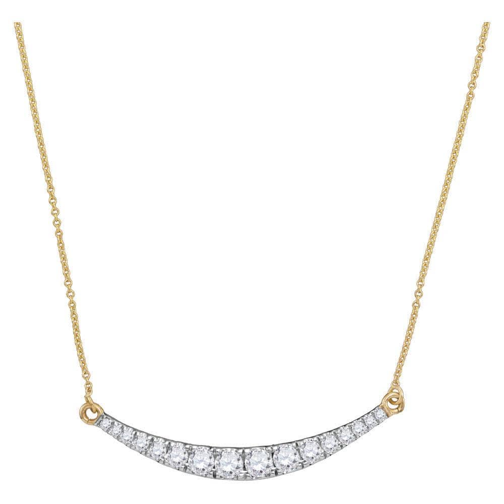 10kt Yellow Gold Womens Round Diamond Curved Bar Pendant Necklace 1.00 Cttw