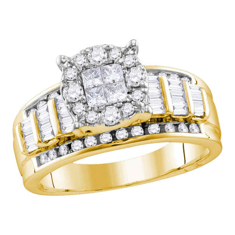 10kt Yellow Gold Womens Princess Round Diamond Soleil Cluster Bridal Wedding Engagement Ring 1.00 Cttw