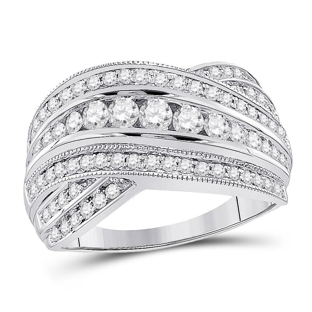14kt White Gold Womens Round Diamond Fashion Crossover Band Ring 1 Cttw