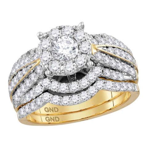 14kt Yellow Gold Womens Diamond Round Bridal Wedding Engagement Ring Band Set 1-3/4 Cttw